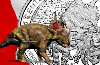 Канада монета 25 центов Пахиринозавр