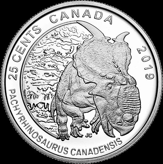 Канада монета 25 центов Пахиринозавр, реверс