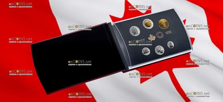 Канада набор 6-ти циркуляционных монет Дятел, подарочная упаковка