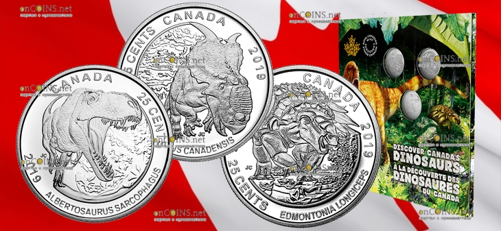 Канада набор монет Динозавры Канады 2019 год