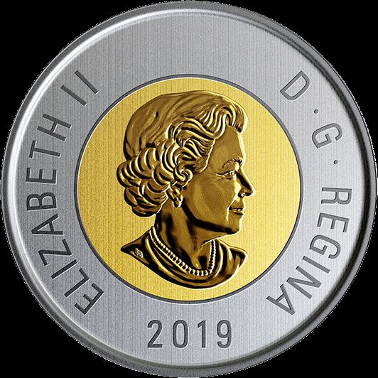 Канада циркуляционная биметаллическая монета 2 доллара 2019 года, аверс