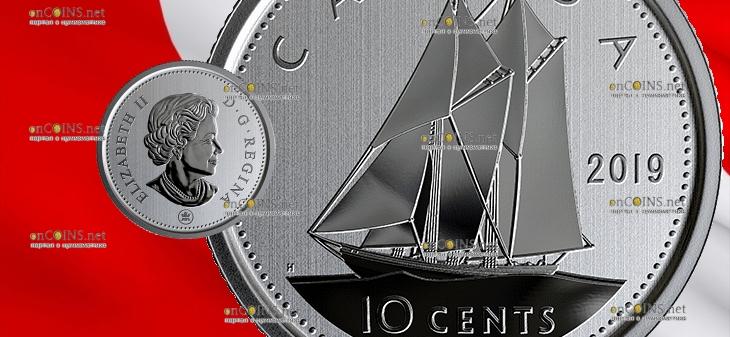 Канада циркуляционная монета 10 центов 2019 год