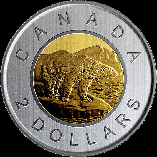 Канада циркуляционная монета 2 доллара Белый медведь 2019 года, реверс