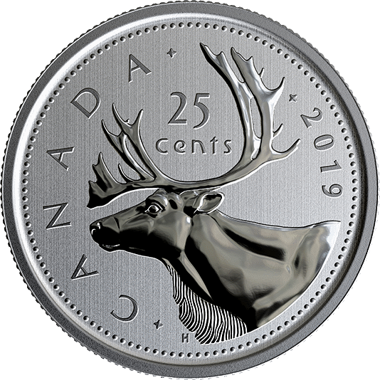 Канада циркуляционная монета 25 центов 2019 год, реверс