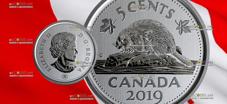 Канада циркуляционная монета 5 центов 2019 год