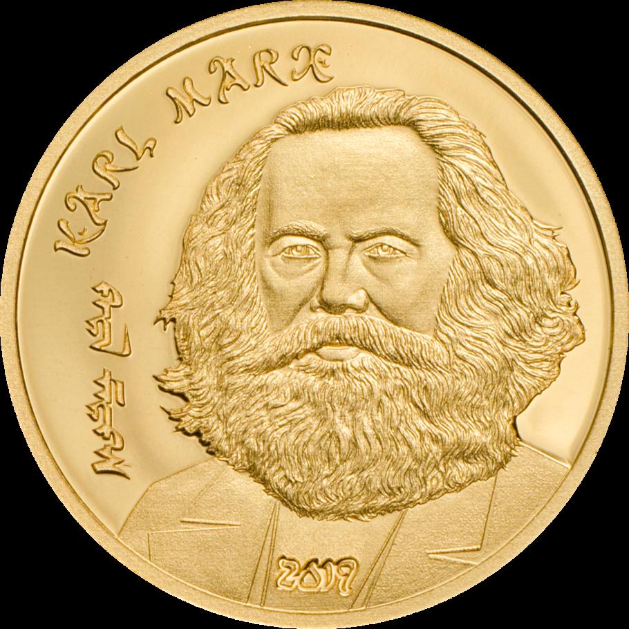 Монголия монета 1000 тугриков Карл Маркс, золото, реверс