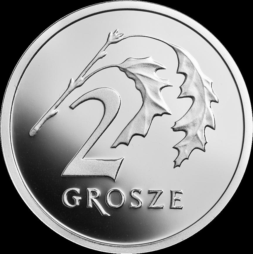 Польша монета 2 гроша 100 лет злотому, серебро, реверс