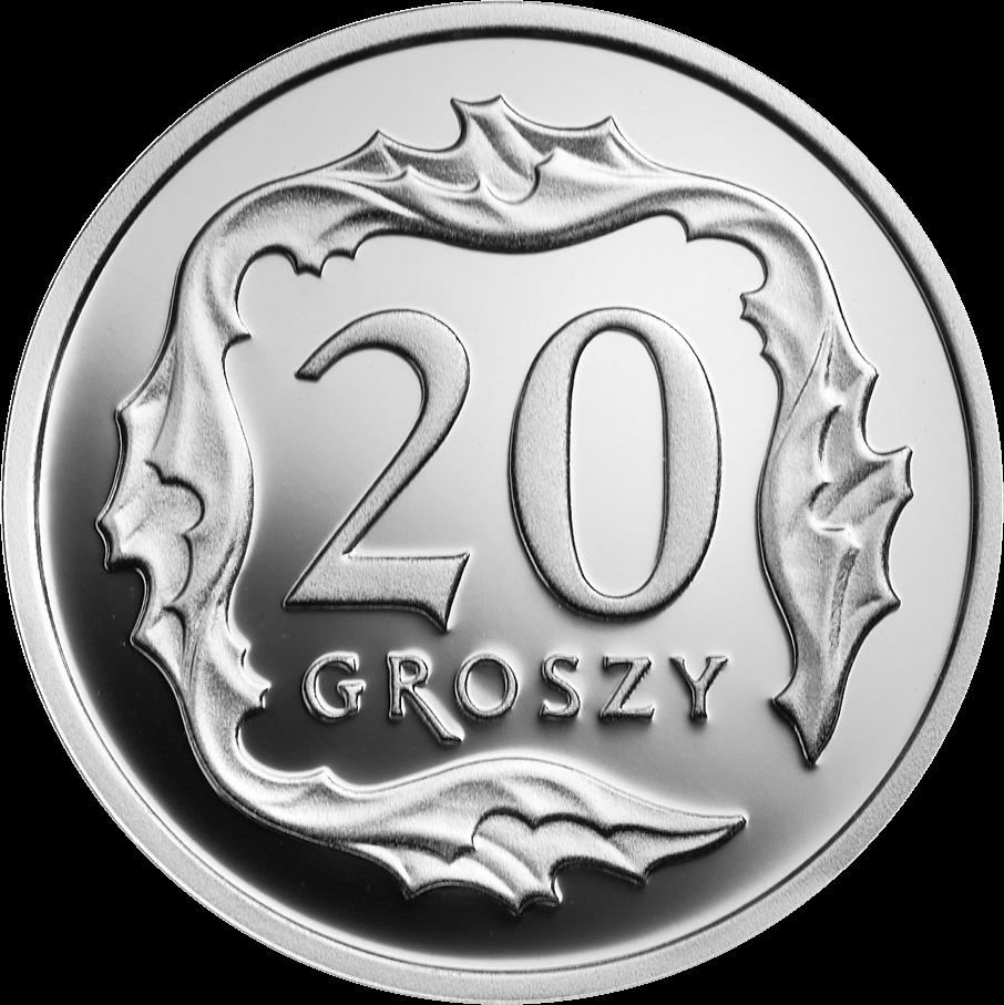 Польша монета 20 грошей 100 лет злотому, серебро, реверс