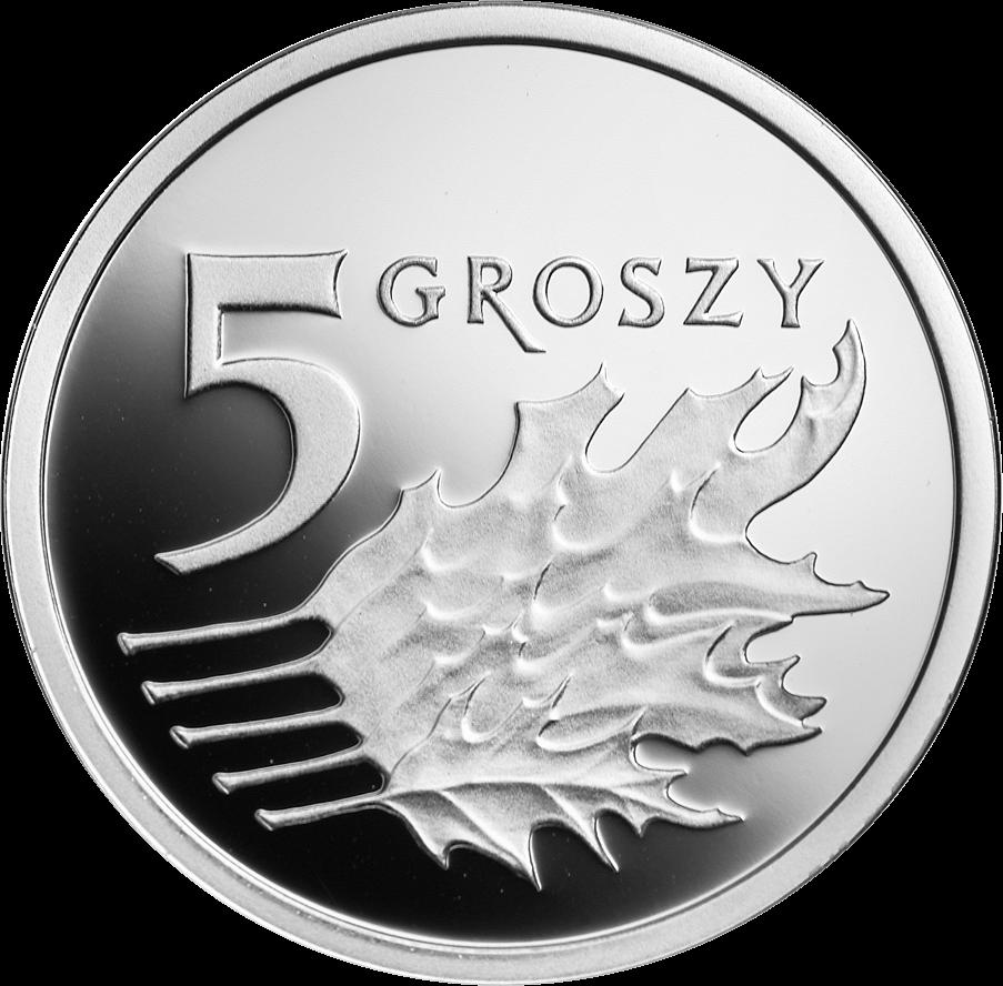 Польша монета 5 грошей 100 лет злотому, серебро, реверс