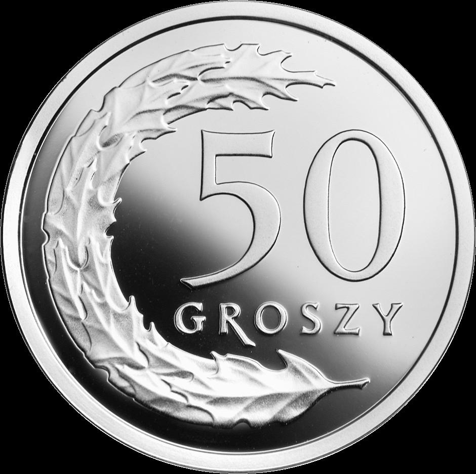 Польша монета 50 грошей 100 лет злотому, серебро, реверс