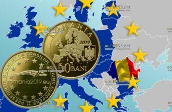 Румынии монета 50 баней Румынское председательство в Совете ЕС 2019