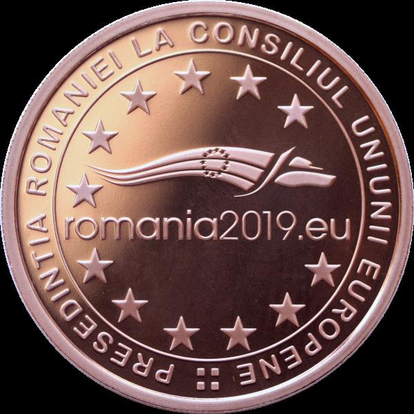 Румыния монета 1 лей Румынское председательство в Совете ЕС 2018 года, аверс