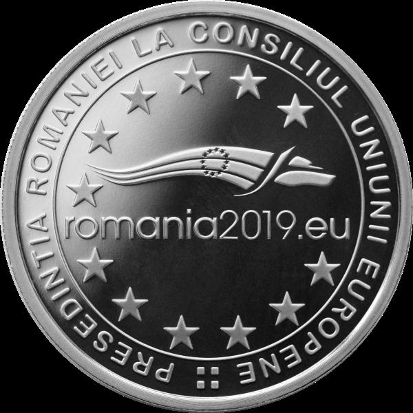 Румыния монета 10 лей Румынское председательство в Совете ЕС 2018 года, аверс