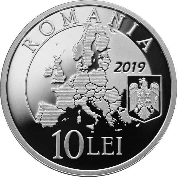 Румыния монета 10 лей Румынское председательство в Совете ЕС 2018 года, реверс