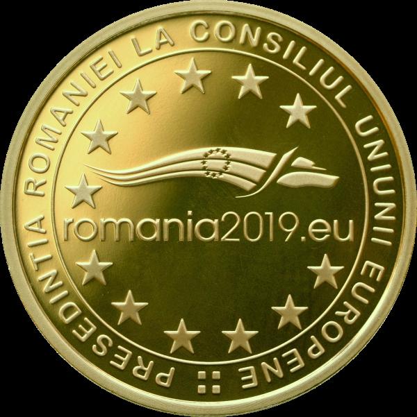 Румыния монета 100 лей Румынское председательство в Совете ЕС 2018 года, аверс