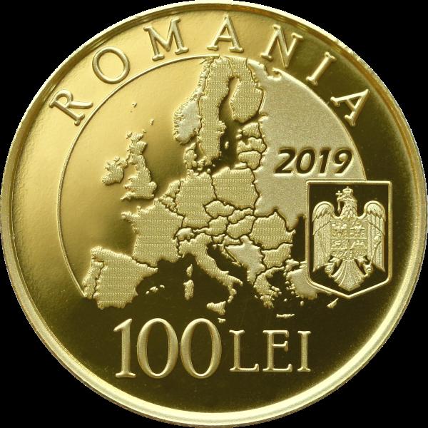 Румыния монета 100 лей Румынское председательство в Совете ЕС 2018 года, реверс