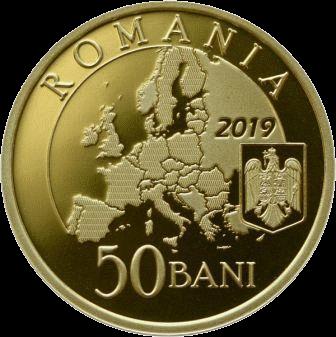 Румыния монета 50 бани Румынское председательство в Совете ЕС 2018 года, аверс