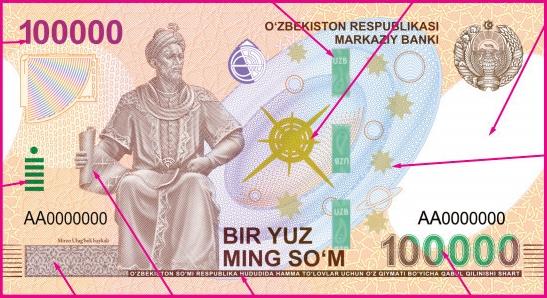 Узбекистан банкнота 100 000 сум, лицевая сторона