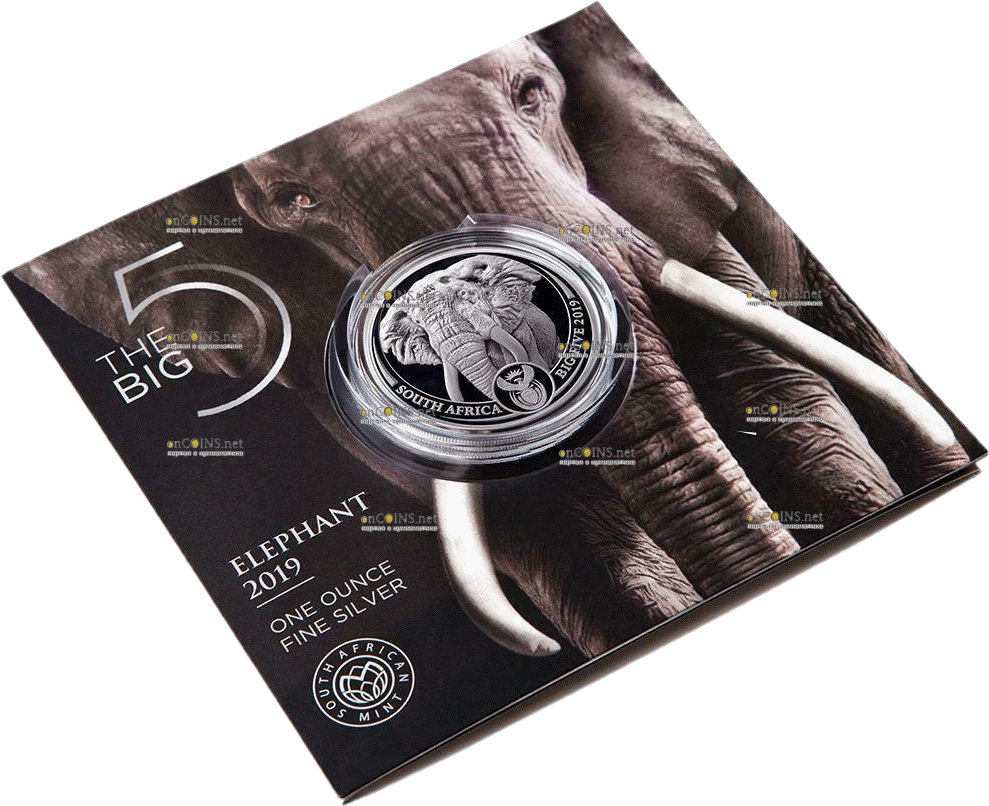 ЮАР монета 5 рэндов Слон, подарочная упаковка