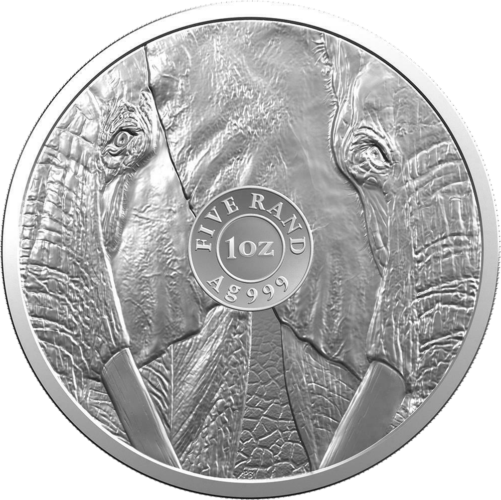 ЮАР монета 5 рэндов Слон, реверс