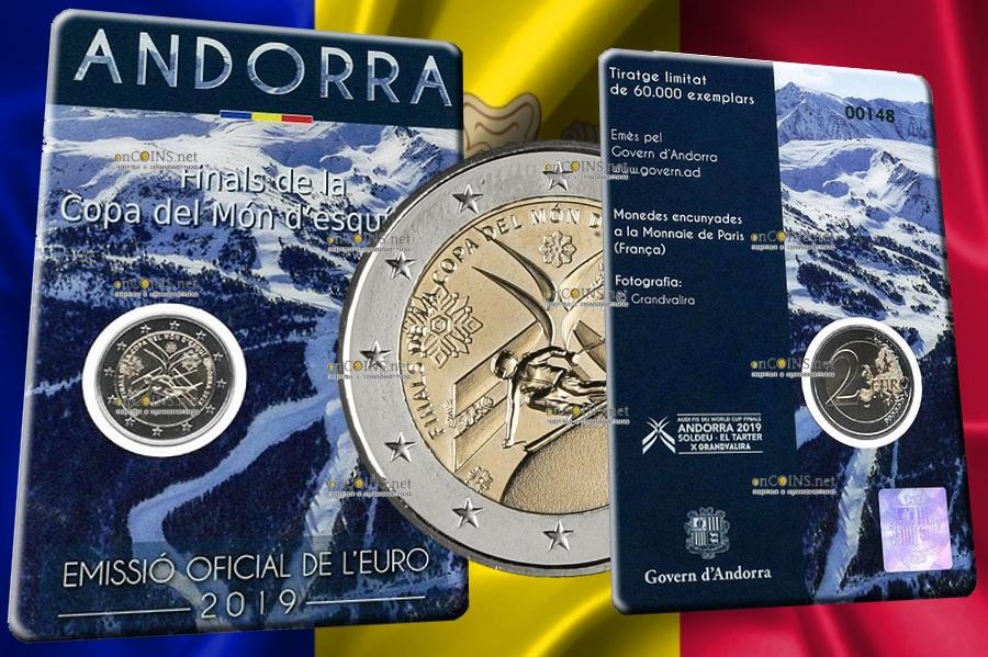 Андорра монета 2 евро Финал Кубка Мира по горнолыжному спорту, подарочная упаковка