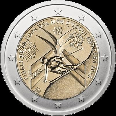 Андорра монета 2 евро Финал Кубка Мира по горнолыжному спорту, реверс