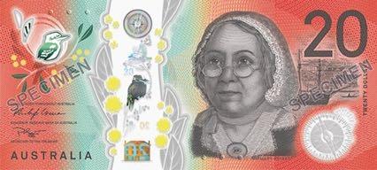 Австралия банкнота 20 долларов 2019 год, лицевая сторона