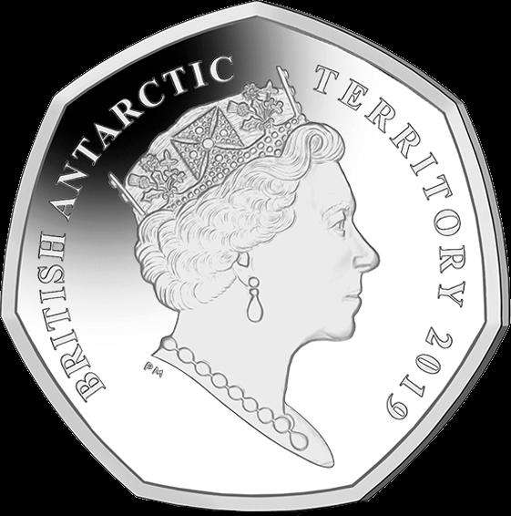 Британской антарктической территории монета 50 пенсов, аверс, 2019 год