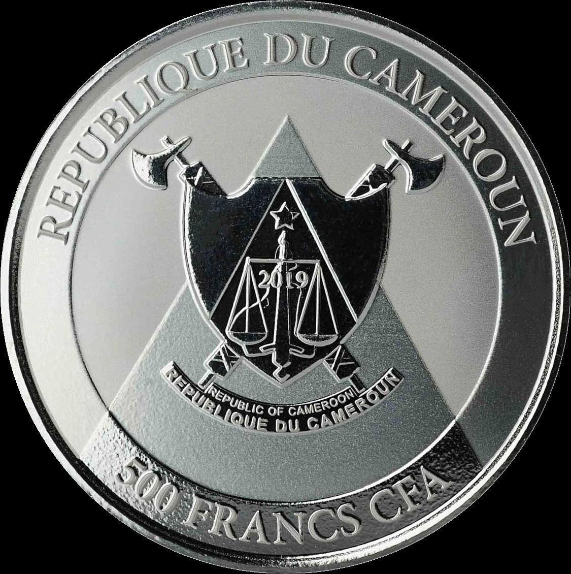 Камерун монета 500 франков КФА Гепард, аверс