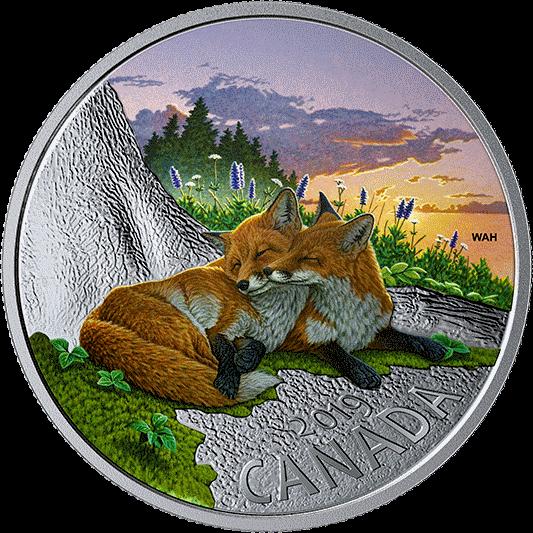 Канада монета 20 долларов Лисы, реверс