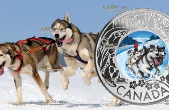 Канада монета 3 доллара Катание на собачьих упряжках