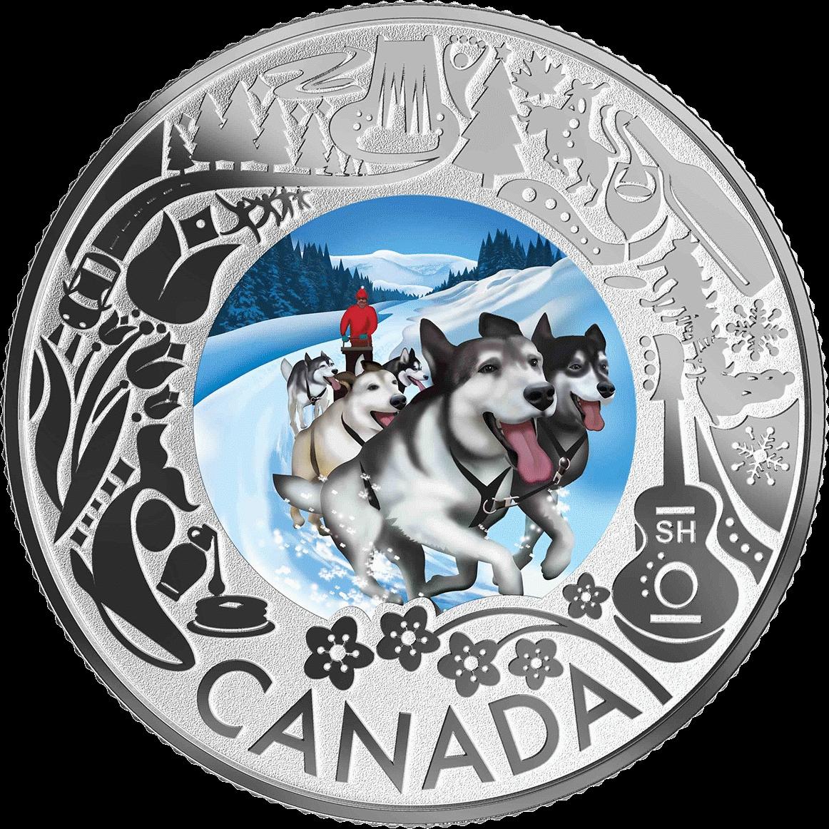 Канада монета 3 доллара Катание на собачьих упряжках, реверс