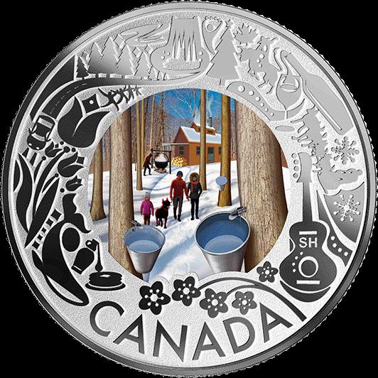 Канада монета 3 доллара Сбор кленового сока, реверс