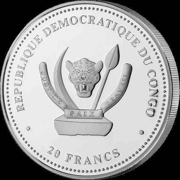 Конго инвестиционная монета 20 франков Волк, аверс
