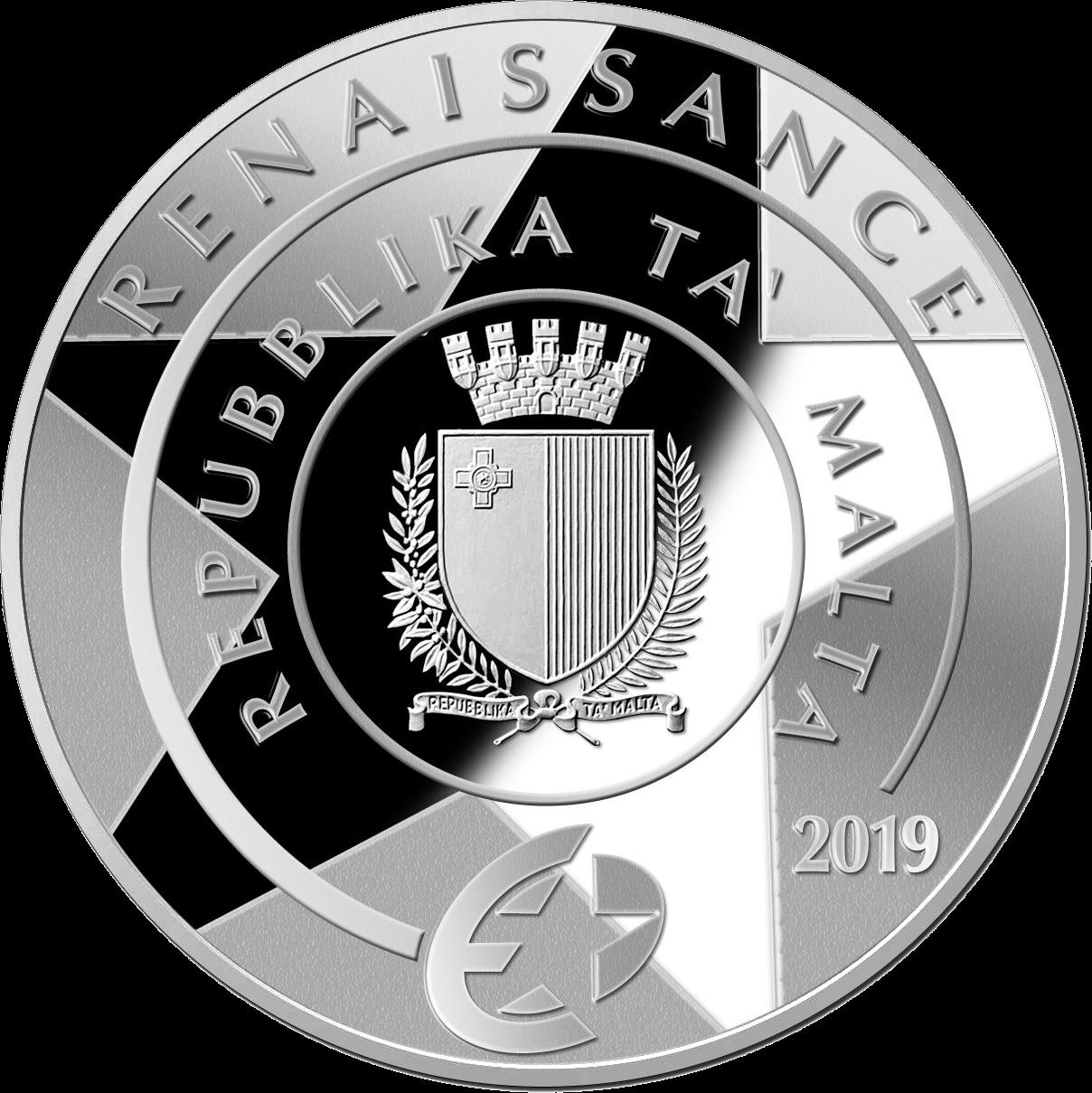 Мальта монета 10 евро Гран-Карракка Ордена Святого Иоанна, аверс