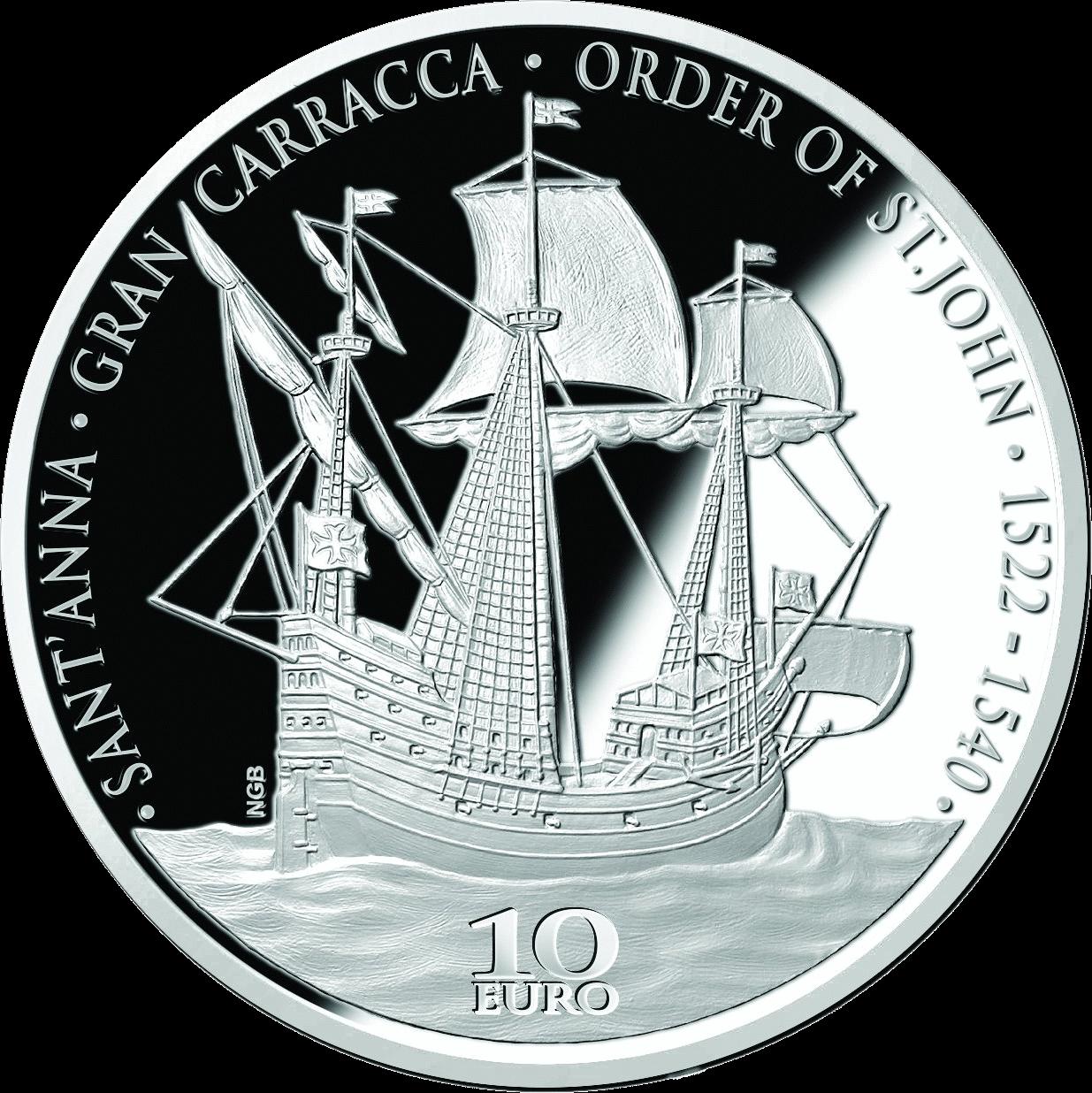 Мальта монета 10 евро Гран-Карракка Ордена Святого Иоанна, реверс
