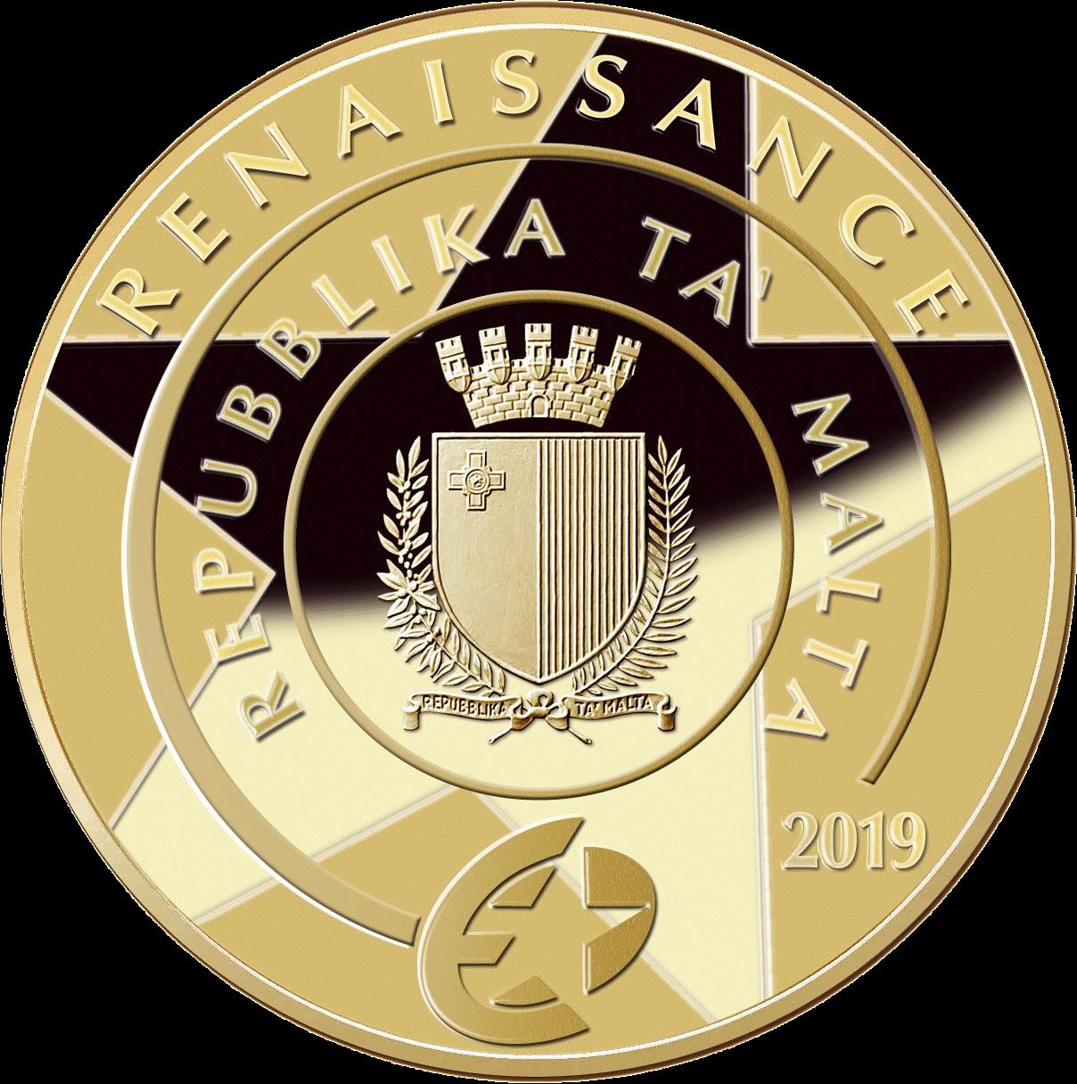 Мальта монета 50 евро Гран-Карракка Ордена Святого Иоанна, аверс