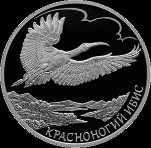 Россия монета 2 рубля Красноногий ибис, реверс