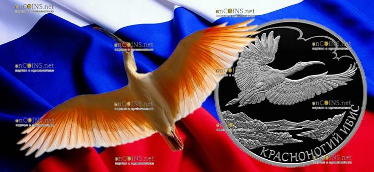 Россия монета 2 рубля Красноногий ибис