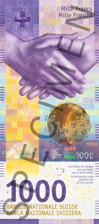 Швейцария банкнота 1000 франков, лицевая сторона