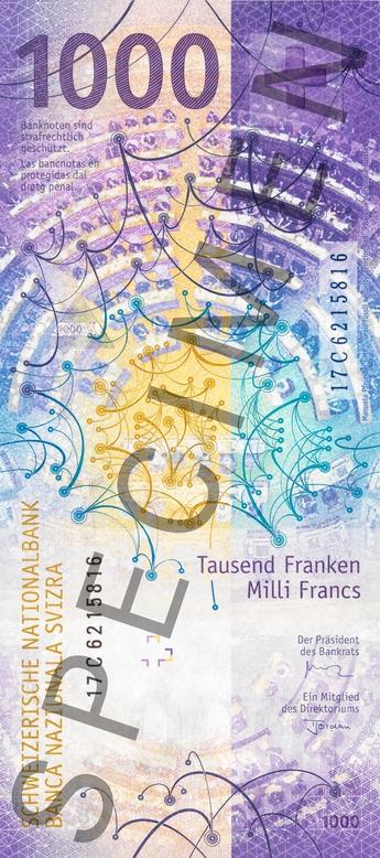 Швейцария банкнота 1000 франков, оборотная сторона