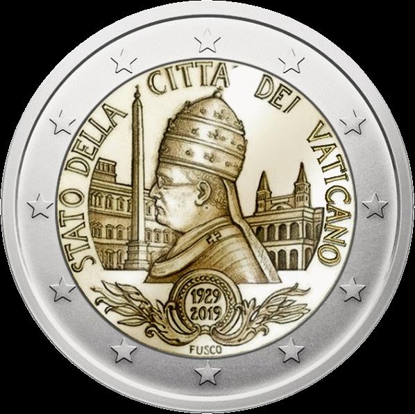 Ватикан монета 2 евро 90-летие основания государства Ватикан, реверс