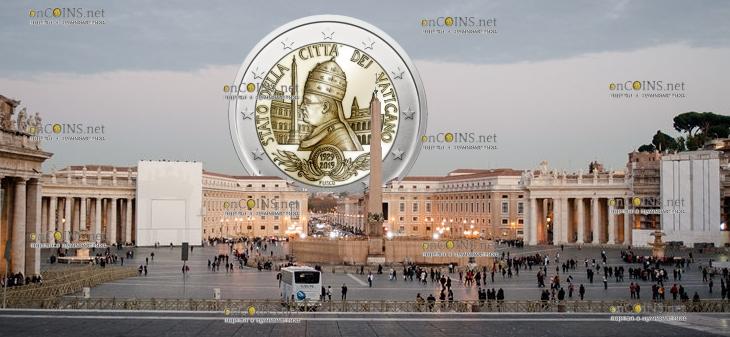 Ватикан монета 2 евро 90-летие основания государства Ватикан