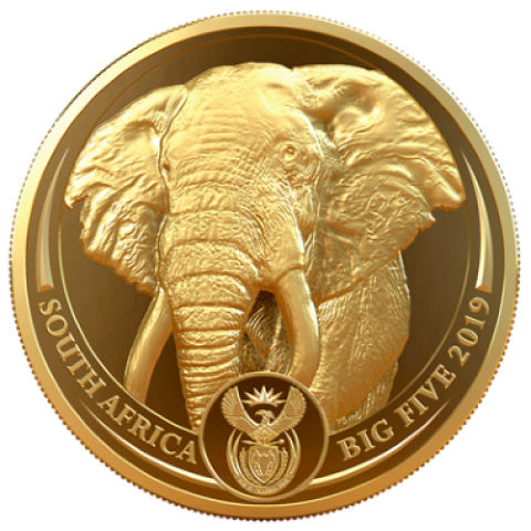 ЮАР монета 5 рэндов Слон, аверс