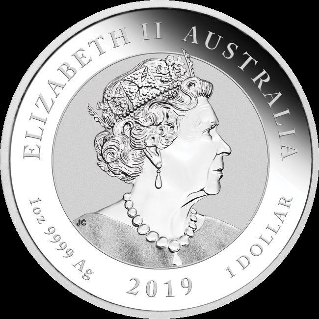 Австралия монета 1 доллар, 2019 год, серебро, аверс