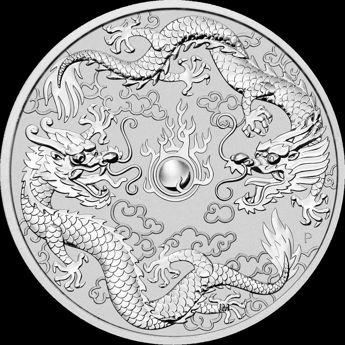 Австралия монета 1 доллар Двойной дракон, реверс
