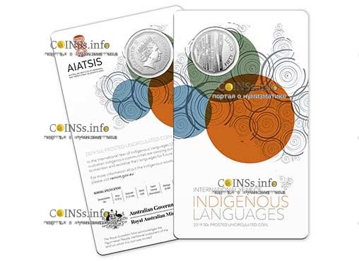 Австралия монета 50 центов Международный год языков коренных народов, подарочная упаковка