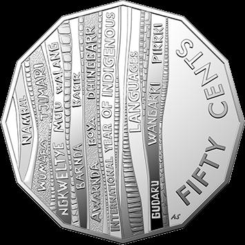 Австралия монета 50 центов Международный год языков коренных народов, реверс