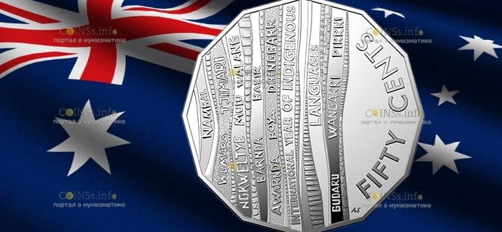 Австралия монета 50 центов Международный год языков коренных народов