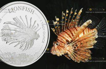 Барбадос монета 1 доллар Крылатка-зебра